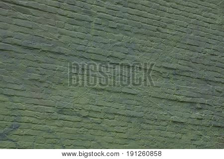 Green background of a brick wall on the facade of a residential building