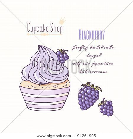 Hand drawn cupcake with doodle buttercream for pastry shop menu. Blackberry flavor. Vector illustration