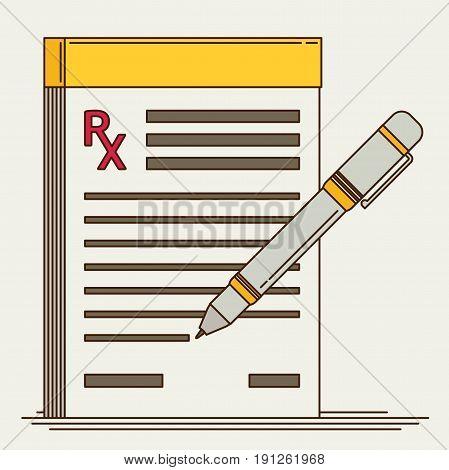 Prescription pad. Medical prescription flat vector illustration.