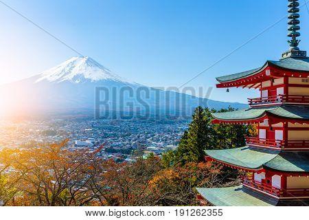 Mt. Fuji viewed from behind Chureito Pagoda
