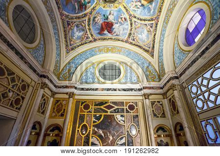 Ferrara Italy - July 21 2011: Detail of the paintings and decorations of the Estense castle inside