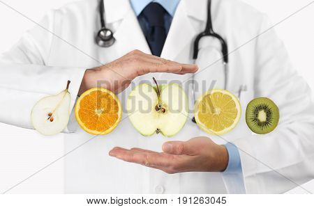 healthy food diet concept Hands of nutritionist doctor with fruits