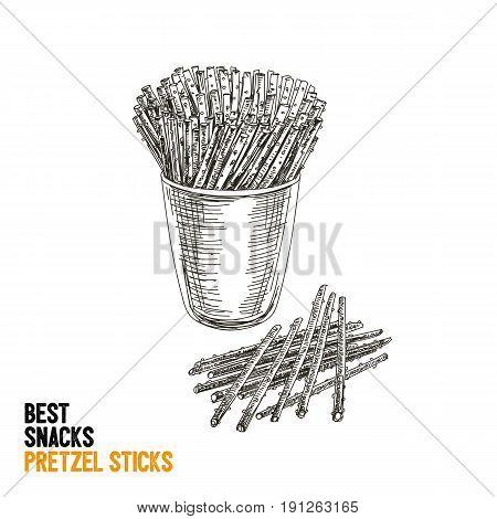 Vector hand drawn snack and junk food Illustration. Pretzel sticks. Vintage style sketch background.