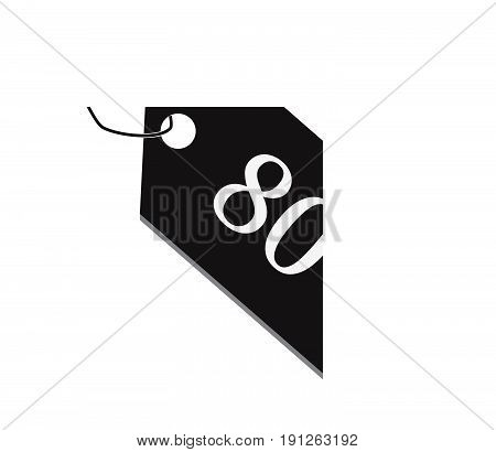 80 percent tag on white background. 80 percent discount icon. sale 80 percent sign.