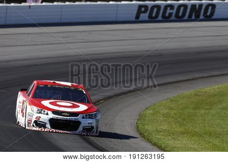 June 11, 2017 - Long Pond, PA, USA: Kyle Larson (42) brings his car through the turns during the Pocono 400 at Pocono Raceway in Long Pond, PA.