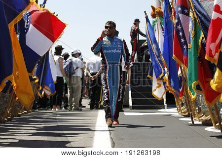 June 11, 2017 - Long Pond, PA, USA: Darrell Wallace, Jr. (43) gets introduced to the crowd for the Pocono 400 at Pocono Raceway in Long Pond, PA.