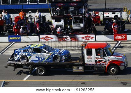 June 11, 2017 - Long Pond, PA, USA: Jimmie Johnson (48) car is brought back to pit road following a wreck during the Pocono 400 at Pocono Raceway in Long Pond, PA.