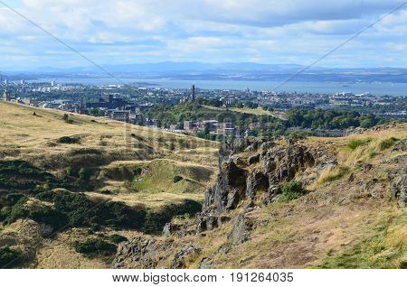 View of Edinburgh from the foothills of the Scottish Highlands.