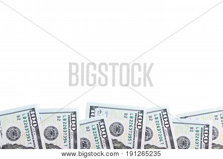 row hundred-dollar bills isolated on white background