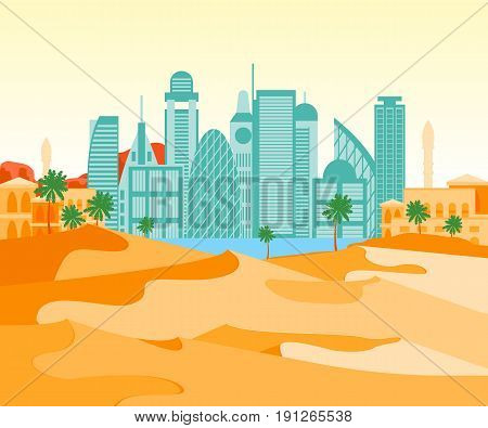 Cartoon Arab City on a Landscape Background Flat Style Design Elements Modern Architecture and Nature. Vector illustration