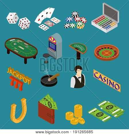 Casino and Gambling Game Set Isometric View Concept Of Luck. Vector illustration