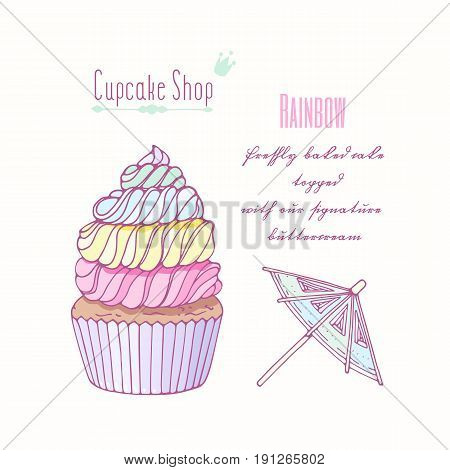 Hand drawn rainbow cupcake with doodle buttercream for pastry shop menu. Vector illustration