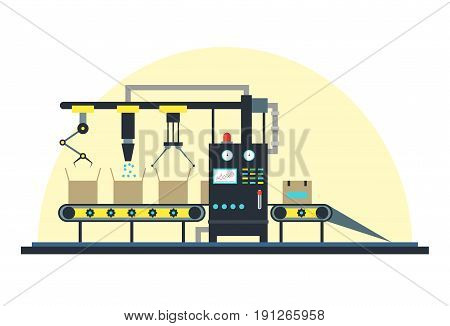 Conveyor Machine Fully Automatic Production Line Flat Style Design Element for Factory. Vector illustration