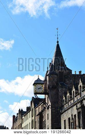Unique architecture in Old Town Edinburgh Scotland.