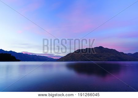 Lake Wakatipu in twilight at dawn Queenstown South Island of New Zealand