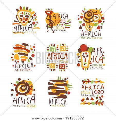 Africa logo original design. Travel to Africa colorful hand drawn vector llustrations for use in the tourist industr