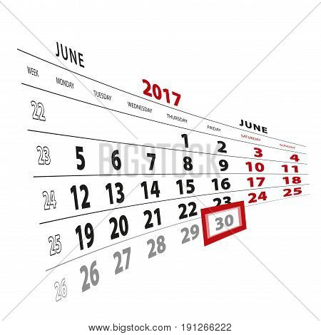 30 June Highlighted On Calendar 2017. Week Starts From Monday.