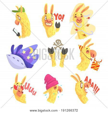 Funny alpaca characters posing in different situations, cartoon emoji alpaca colorful Illustrations isolated on white background