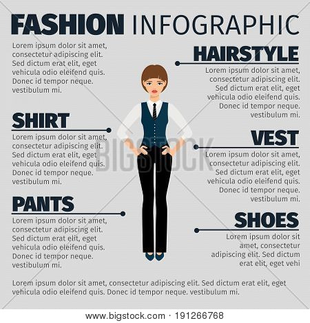 Fashion infographic with strict girl manager. Vector illustration