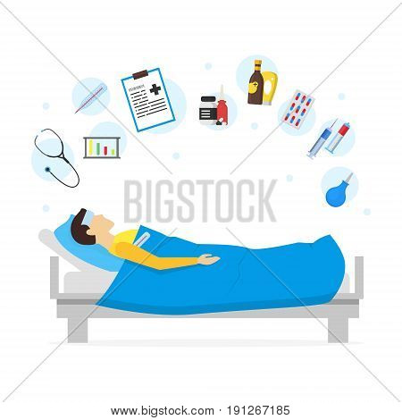 Cartoon Sick Man in Bed and Element Set Infection Illness and Fever. Vector illustration