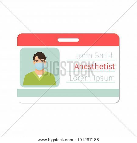 Anesthetist medical specialist badge template for game design or medicine industry. Vector illustration