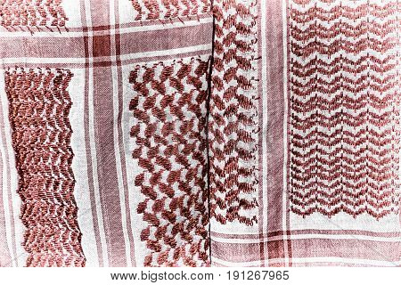 The Texture Of   Cotton Traditional Symbolic  Arabian  Scarf