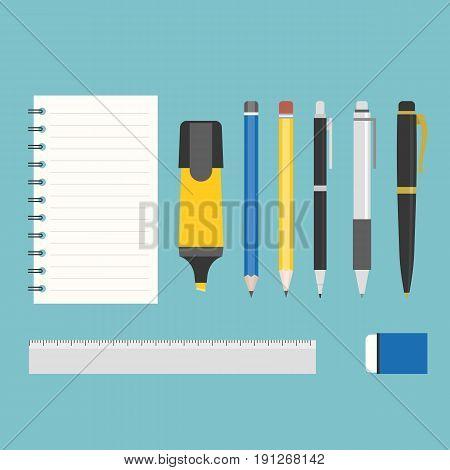 stationary, highlighter, fountain pen, eraser, ruler, notepad, ball pen and pencil, flat design vector