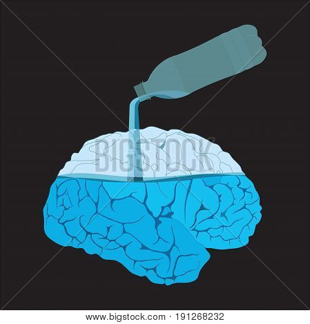 Medicine icon brains filled with water flat design vector image