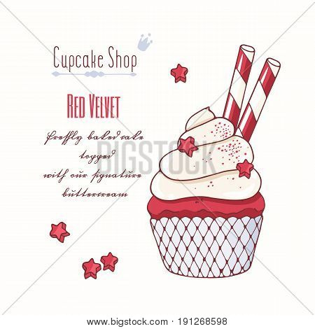 Hand drawn red velvet cupcake with doodle buttercream for pastry shop menu. Vector illustration