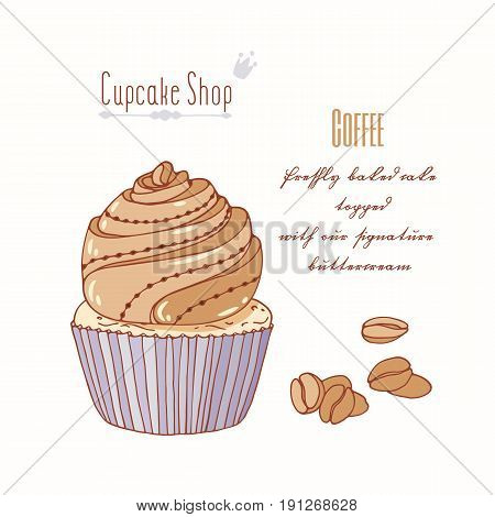 Hand drawn cupcake with doodle buttercream for pastry shop menu. Coffee flavor. Vector illustration