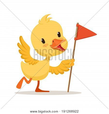 Yellow cartoon duckling holding red flag, cute emoji vector Illustration isolated on a white background