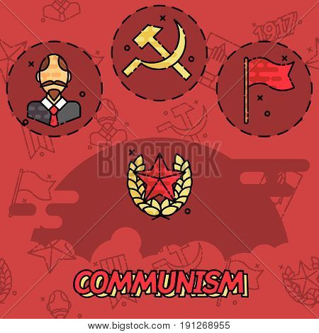 Communism flat concept icons. Vector illustration, EPS 10