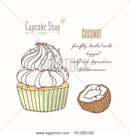 Hand drawn cupcake with doodle buttercream for pastry shop menu. Coconut flavor. Vector illustration