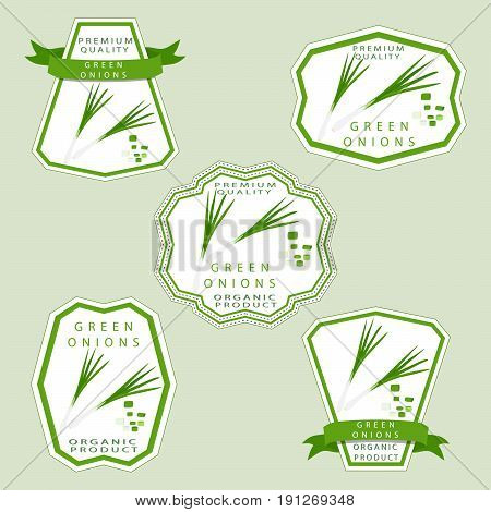 Vector illustration logo whole ripe vegetable bitter onion with green stem,cut sliced close-up background. Onion drawing pattern consisting of tag label fruit,bittersweet taste food. Eat fresh onions.