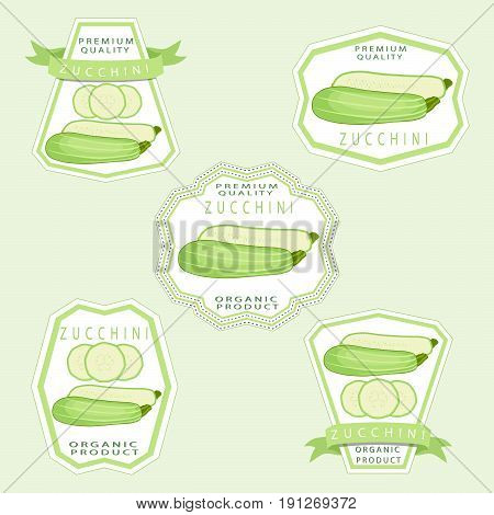 Vector illustration logo for whole ripe vegetable squash zucchini with green stem cut sliced close-up background.Zucchini drawing pattern consisting of tag label fruit,squash ripe.Eat fresh zucchinis.