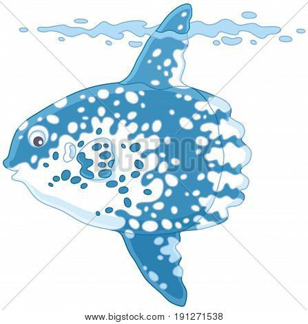 Vector illustration of a large tropical fish-moon, on a white background