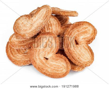 heart shape sweet puff pastry. Bakery products isolated on white