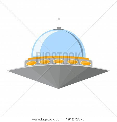 Cartoon Ufo Cosmic Ship or Flying Saucer for Transportation Isolated on White Background Flat Design Style. Vector illustration