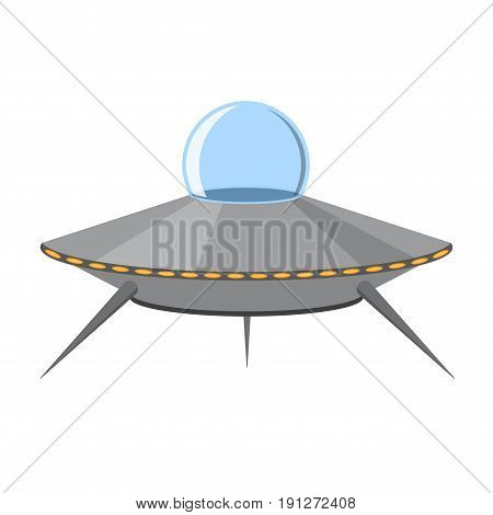 Cartoon Ufo Cosmic Ship or Flying Saucer for Web and App Isolated on White Background Flat Design Style. Vector illustration