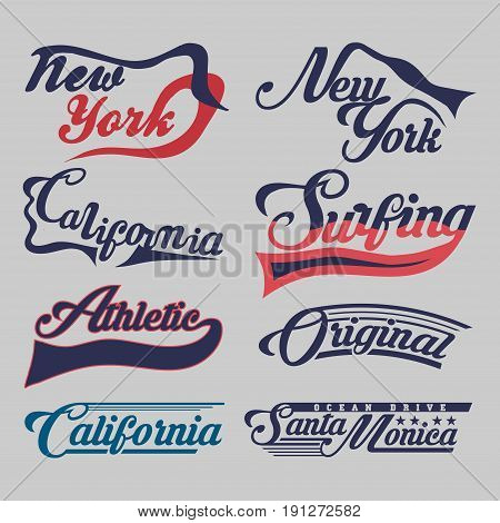 set of labels New York City California surfing athletic sports T-shirt original design typography flat style vector imageset of labels New York City California athletic sports T-shirt original design typography flat style vector image