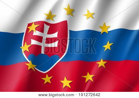 Slovakia national flag with a circle of European Union twelve gold stars, political and economic union, EU member since 1 May 2004. Realistic vector style illustration