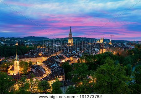 Bern. Image of Bern capital city of Switzerland during dramatic sunset.