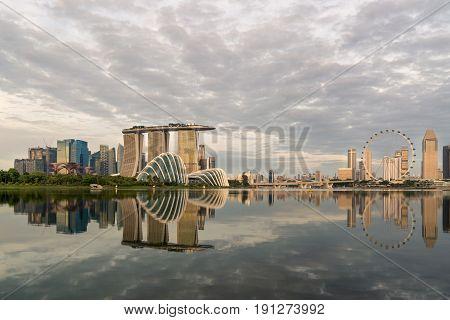 Singapore skyline Singapore Marina bay in morning Singapore with reflection