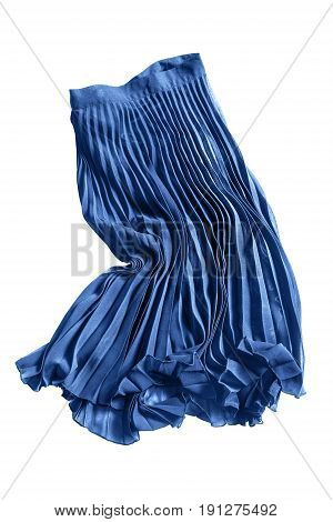 Crumpled blue pleated chiffon skirt on white background