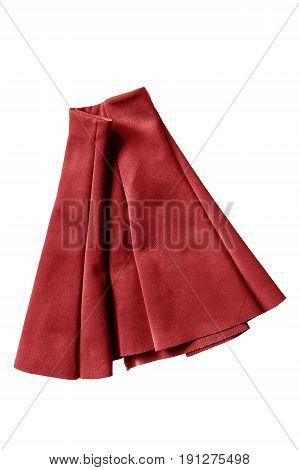 Red mini skirt folded on white background