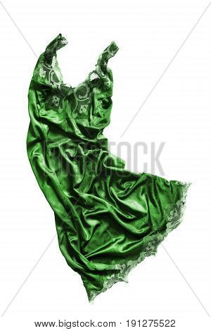 Green satin crumpled nightdress isolated over white