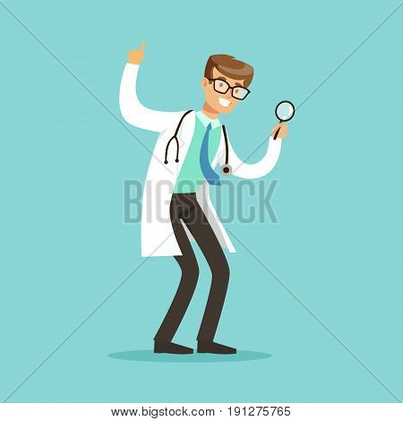 Smiling male doctor character standing and looking through loupe vector Illustration on a light blue background
