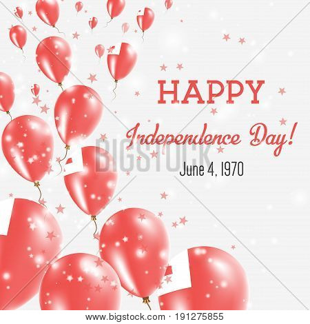 Tonga Independence Day Greeting Card. Flying Balloons In Tonga National Colors. Happy Independence D