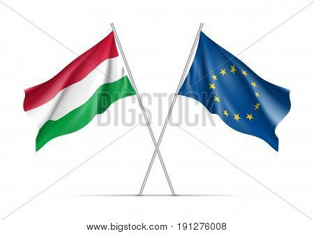 Hungary and European Union waving flags on flagpole. EU sign with twelve gold stars on blue and Hungary national symbol red, white and green colors. Two flags isolated on white background