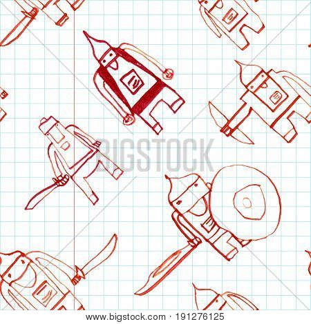 Hero Seamless Pattern. Pleasant Child's Drawing With School Pen. Cute Hero Hand Drawn With Red Ink O
